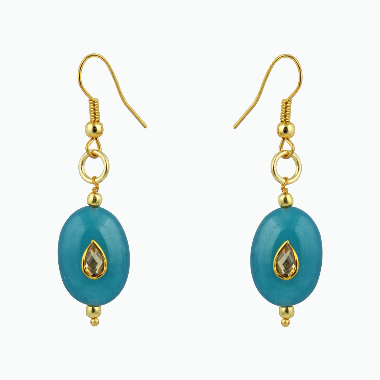 Pearlz Ocean Precise Aqua Jade Beads Earrings for Women