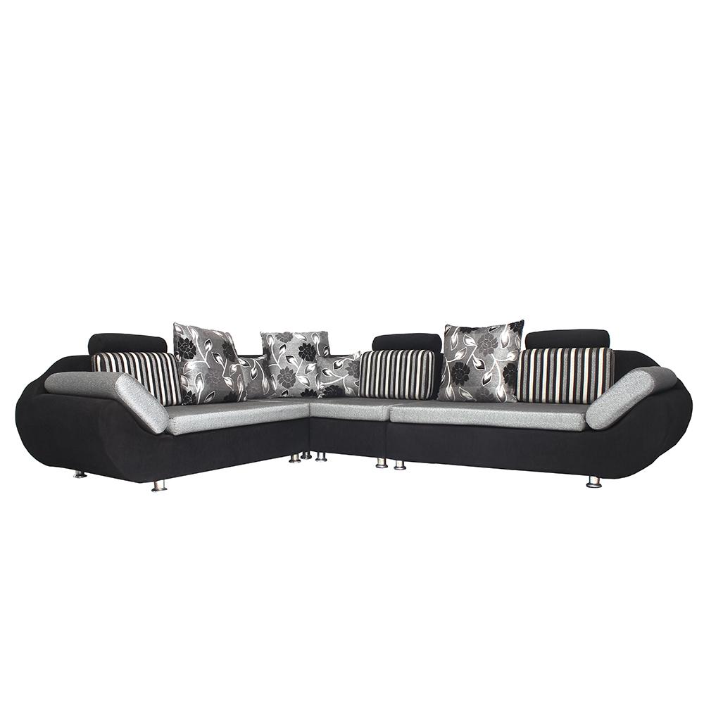 Bharat Lifestyle   L Corner Grey Black Colour 6 Seater Sofa Set With Attractive Cushion