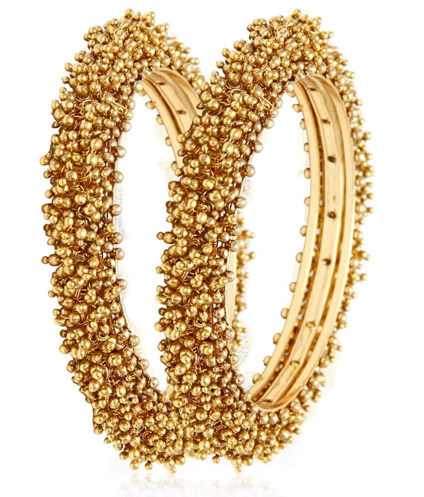Jewels Gold Alloy Antique Pearl Designer Golden Plated Bangle set