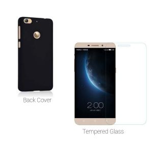 Letv Le 1s Tempered Glass Plus Hard Back Cover  black Combo for Le 1s