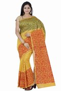 PSSB Yellow Printed Silk Cotton Blend Saree With Blouse