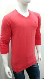 Multicolor V Neck Long Sleeve T Shirt for Men