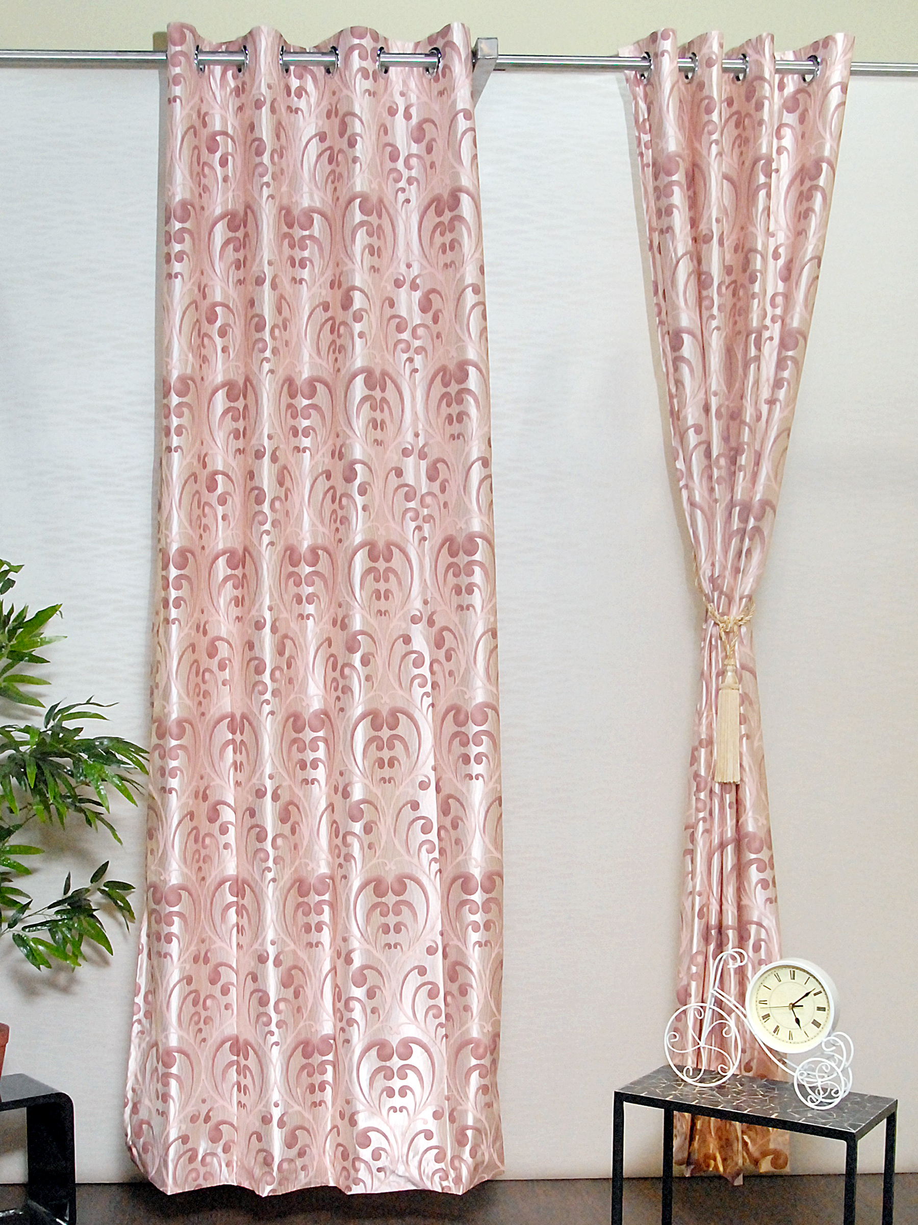 Homelife Pink Eyelet Style Door Polyester Curtains