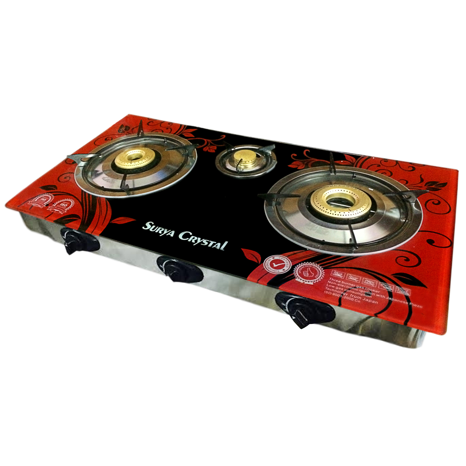 Surya Crystal 3 Burners Automatic Glass Top Gas Cooktop at shopclues