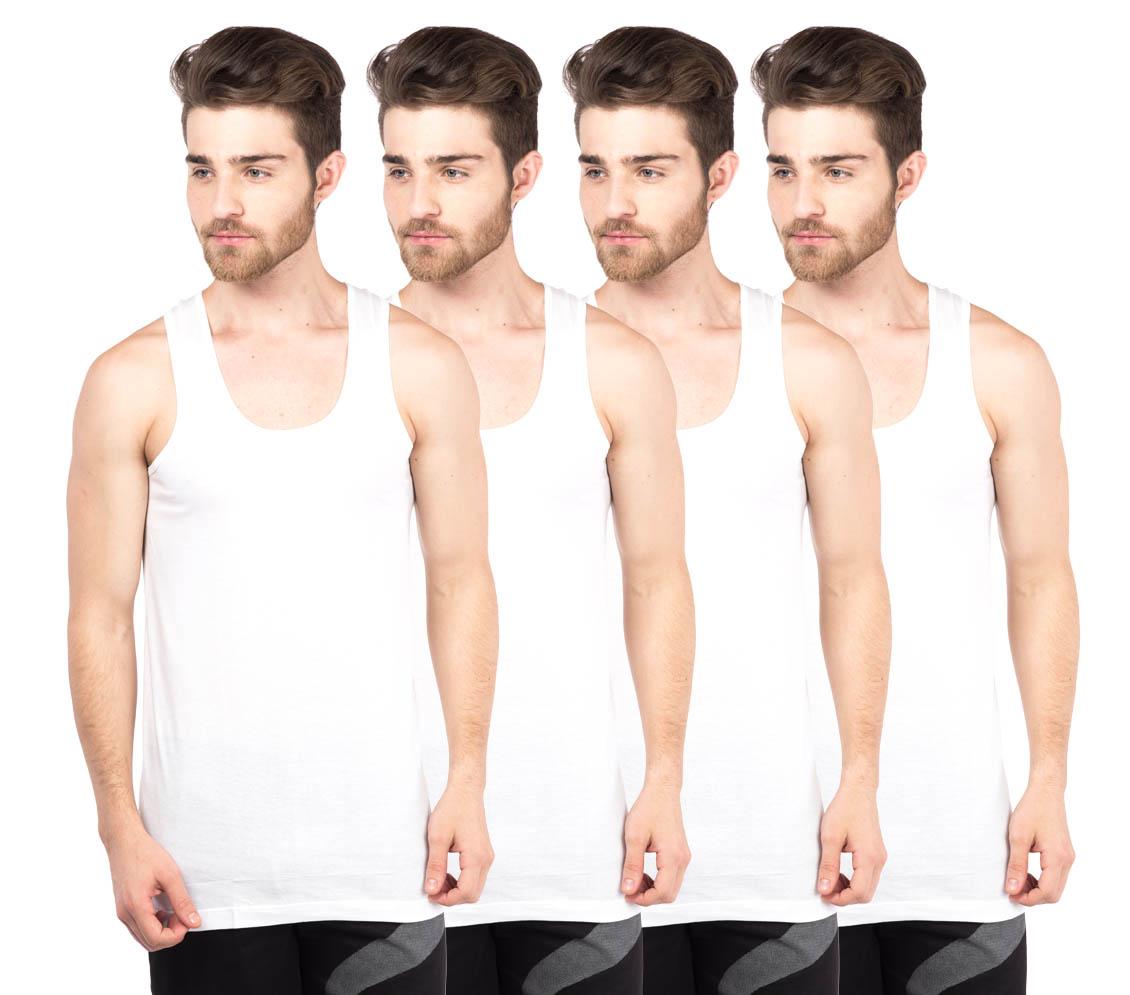 VIP Bonus Classic White Sleeve less Vests Pack of 4 for Men