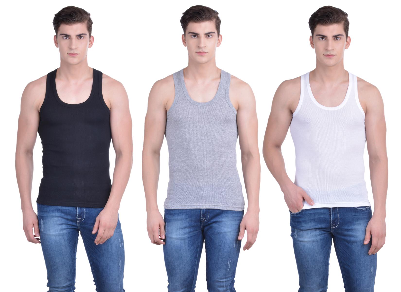 Dollar Bi  gboss Multicolor Plain Pack of 3 Vest for Men