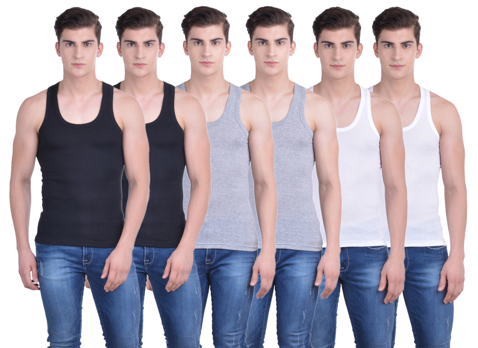 Dollar Bi  gboss Multicolor Plain Pack of 6 Vest for Men