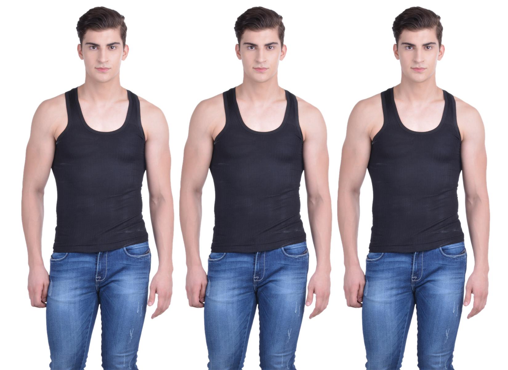 Dollar Bi gboss Black Plain Pack of 3 Vest for Men