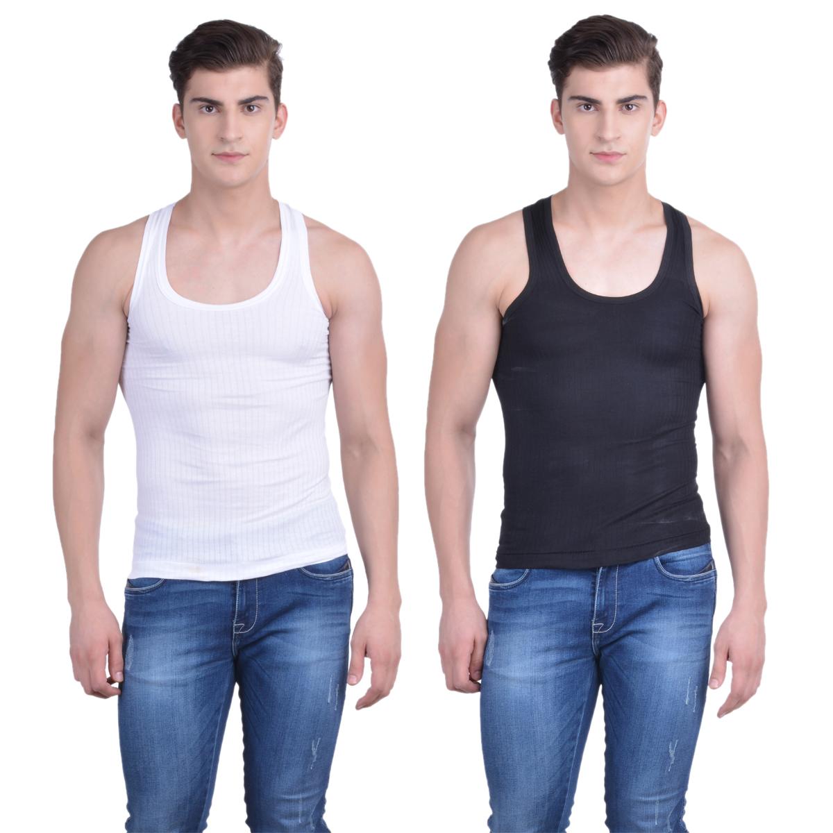 Dollar Bi gboss Multi Plain Pack of 2 Vest for Men
