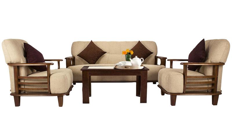 Fabbulls Walenty Wooden Fabric 3+1+1 Sofa Set