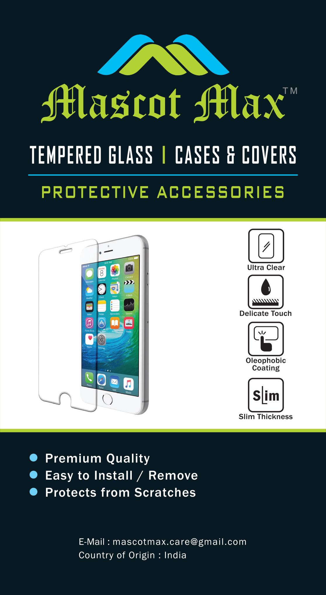 Lenovo Vibe K6 Power Tempered Glass Screen Guard By Mascot max