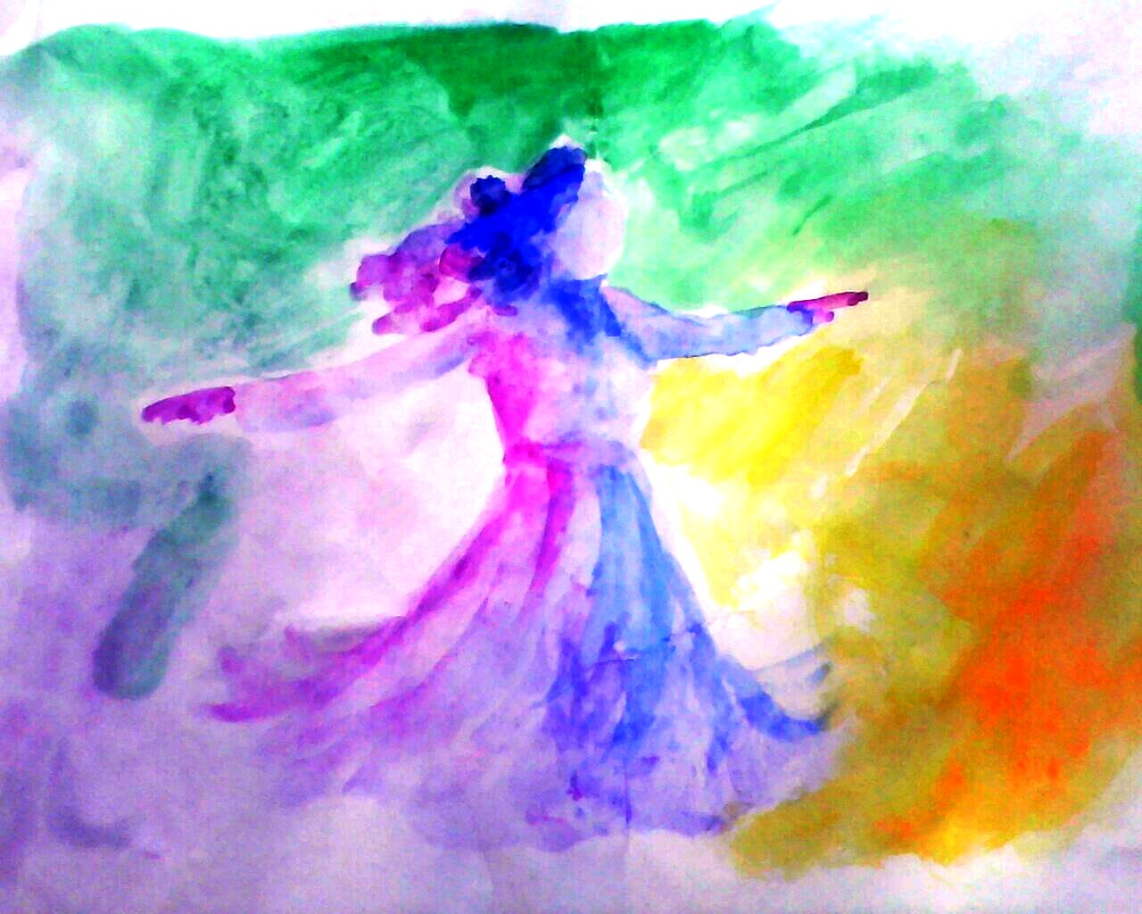 Happy girl   A colorful dance..