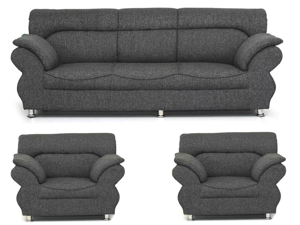 Earthwood   Jamaica Dark Grey 3+1+1 Five Seater Sofa Set