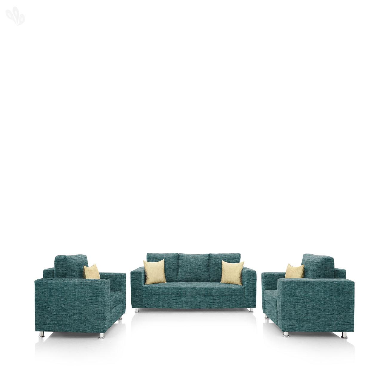 Earthwood   Fully Fabric Upholstered Sofa Set 3+1+1   Premium Valencia Teal