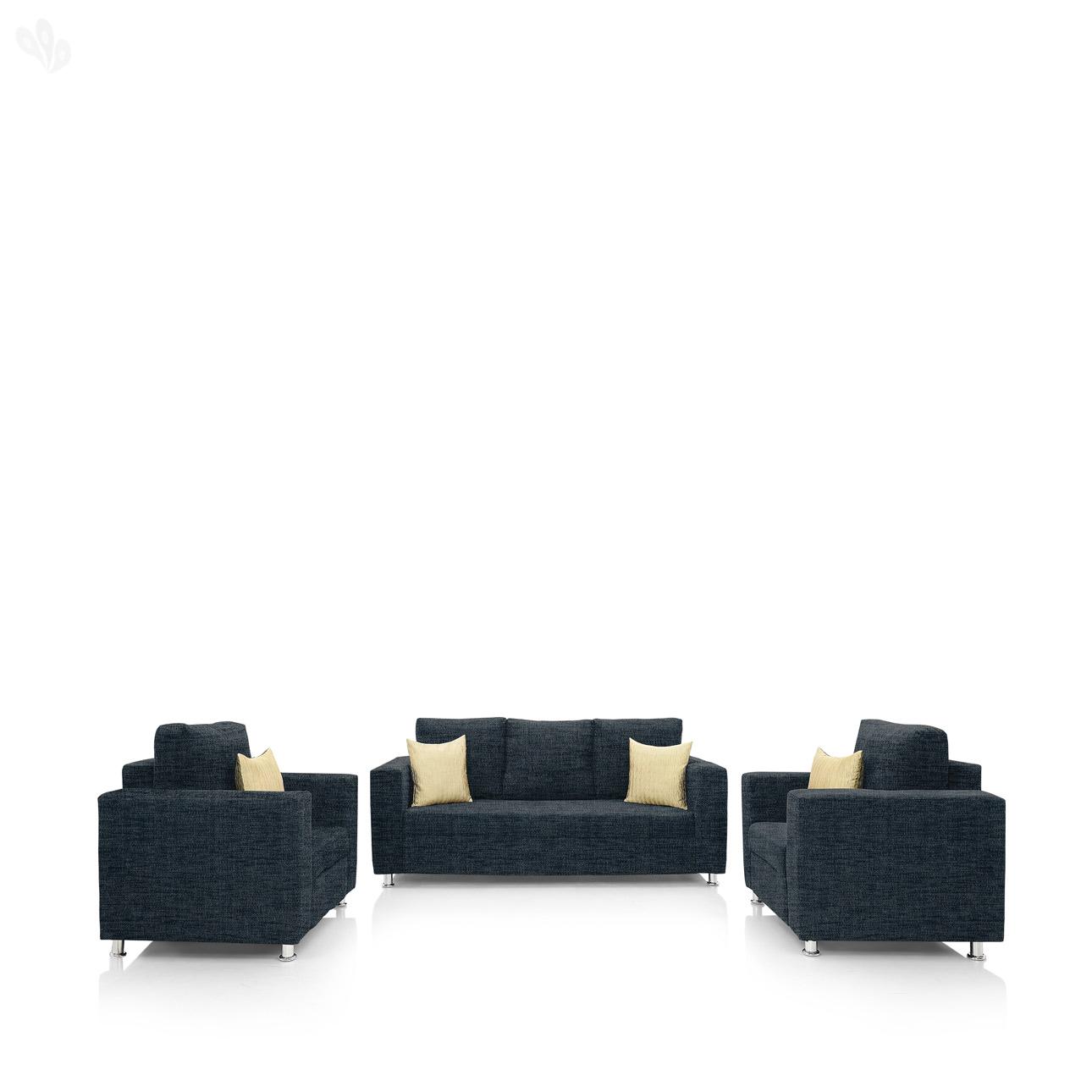 Earthwood   Fully Fabric Upholstered Sofa Set 3+1+1   Premium Valencia Dark Blue