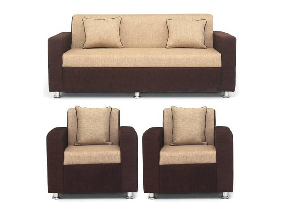 Earthwood   Tulip Fabric  3+1+1  Seater Sofa   Brown