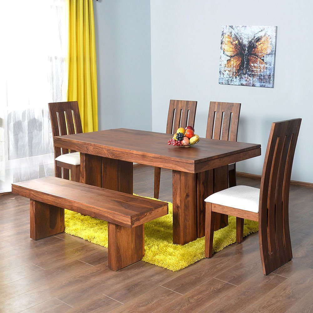 Shop Sting Solid Wood Dezier Delmonte Six Seater Dining Table Set