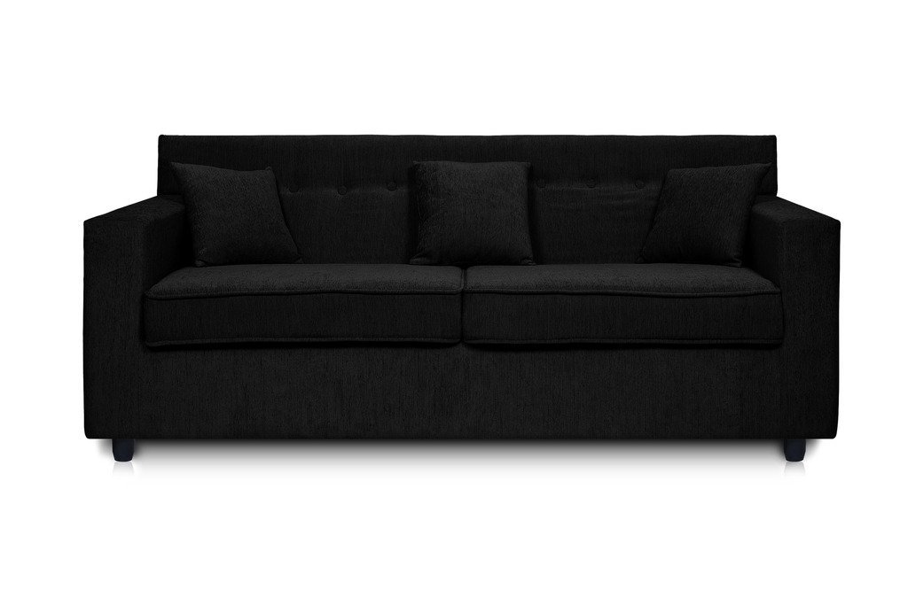 Solitaire Fabric 2 Seater Sofa Set Black