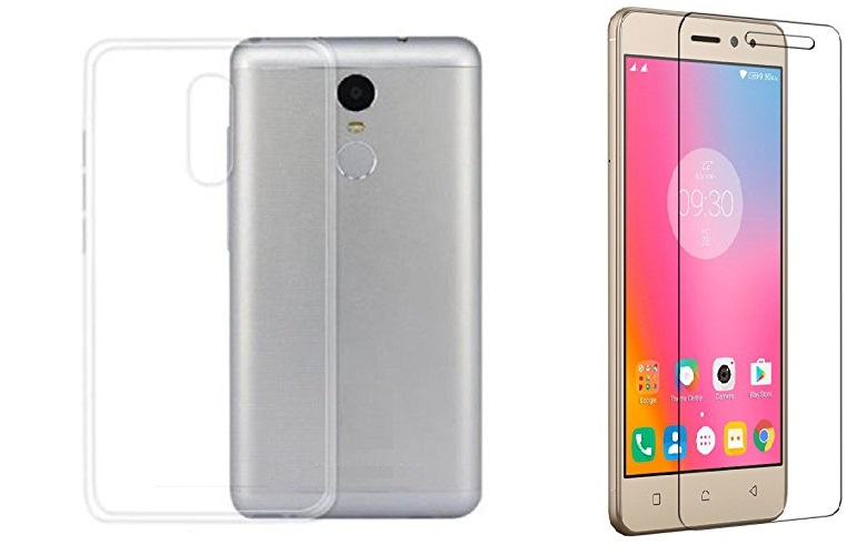 Lenovo K6 power Transparent back cover with tempered glass