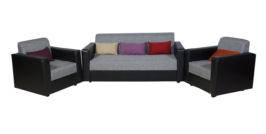 furniture4U   Feel Good Five Seater Dark Brown Sofa Set  Leatherette   3+1+1