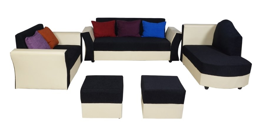 furniture4U   Model Five Seater Sofa Set including Couch Leatherette Blue   White  3+1+1
