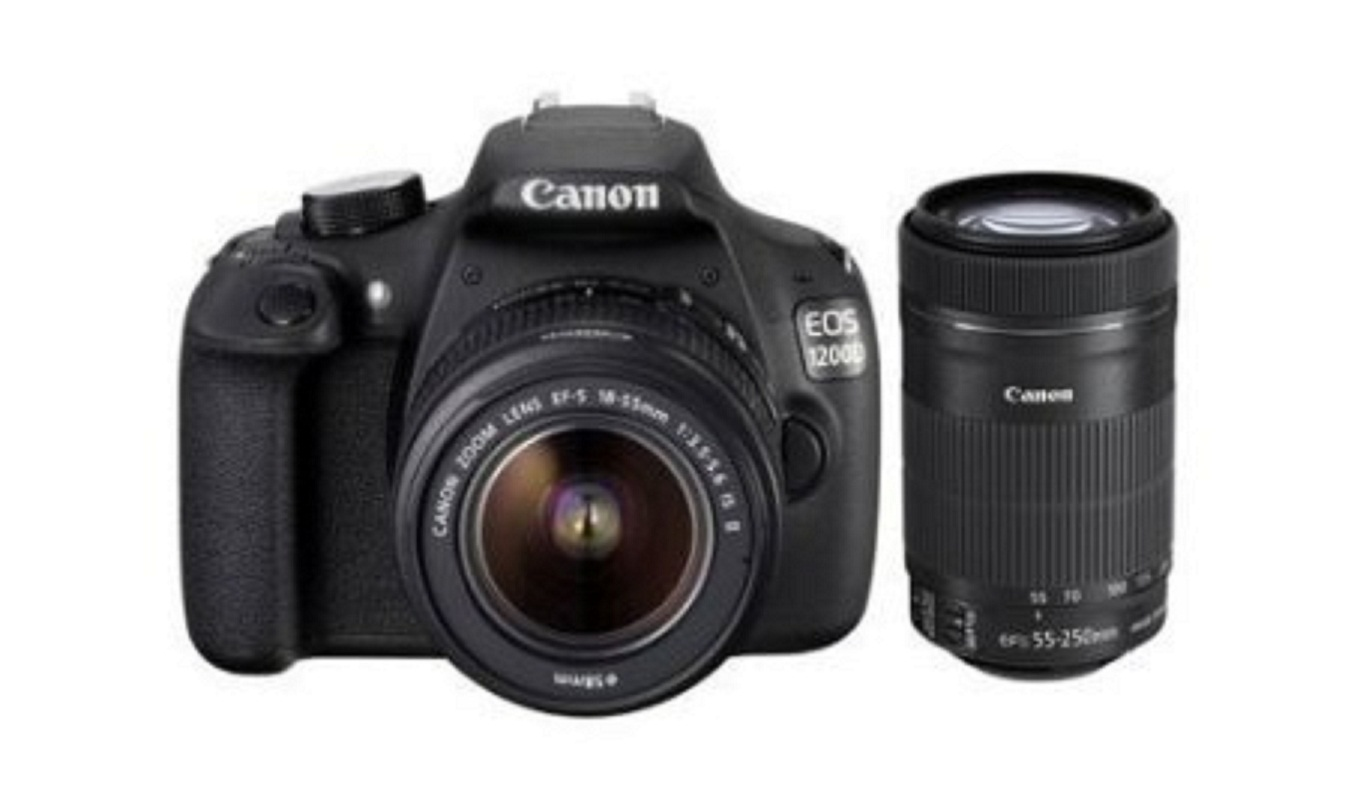 Canon EOS 1200D DSLR Camera (Body with 8 GB Card & Bag EF S18-55 IS II+55-250mm IS II)(Black) Canon EOS Rebel T5 (EOS 1200D)
