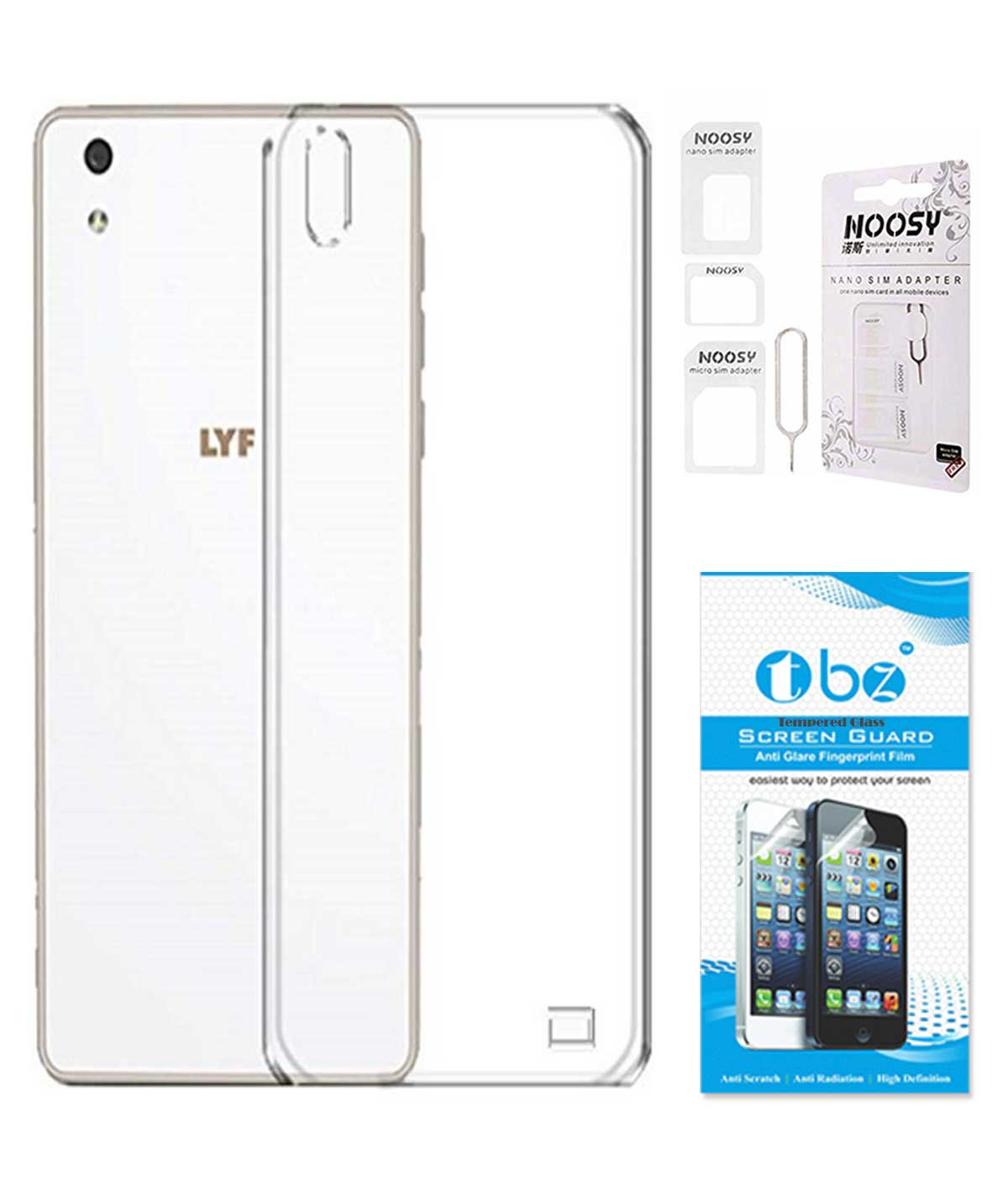 TBZ Transparent Silicon Soft TPU Slim Back Case Cover for Lyf Water 5 with Nossy Sim Adaptor and Tempered Screen Guard