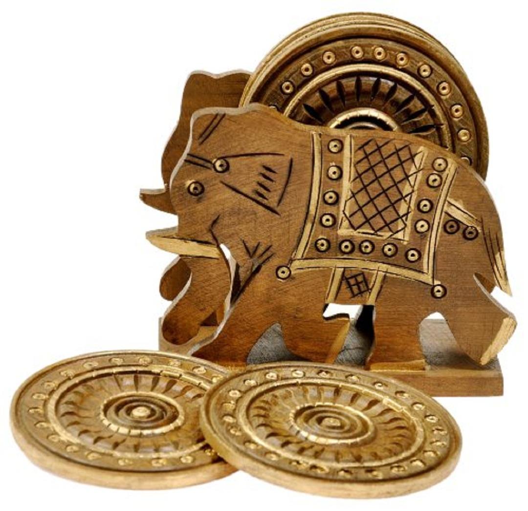 Little India Elephant Design Wooden Tea Coaster Handicraft  Brown