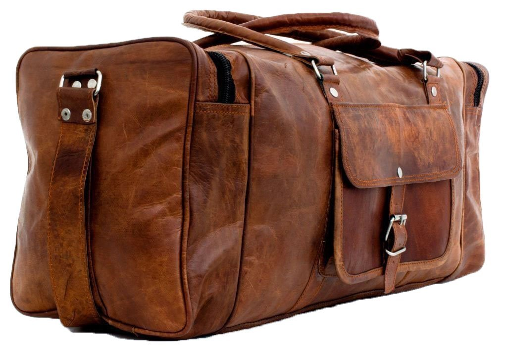 Craftsmen Leather duffel bag with small pocket for luggage and travel
