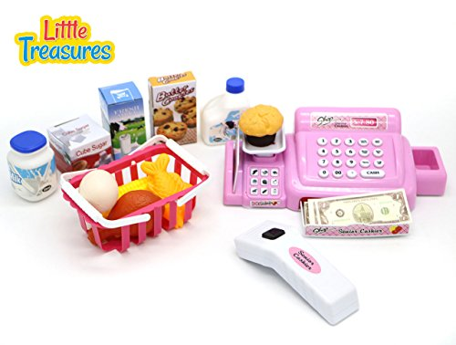 Little Treasures grocery shopping pretend play toy set for children 3+ includes a realistic battery operated cash register with a drawer, barcode scanner, and shopping basket with pretend food items