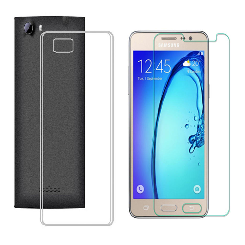 Soft Transparent Back Cover with 25HD Tempered Glass for Samsung Galaxy Note 4