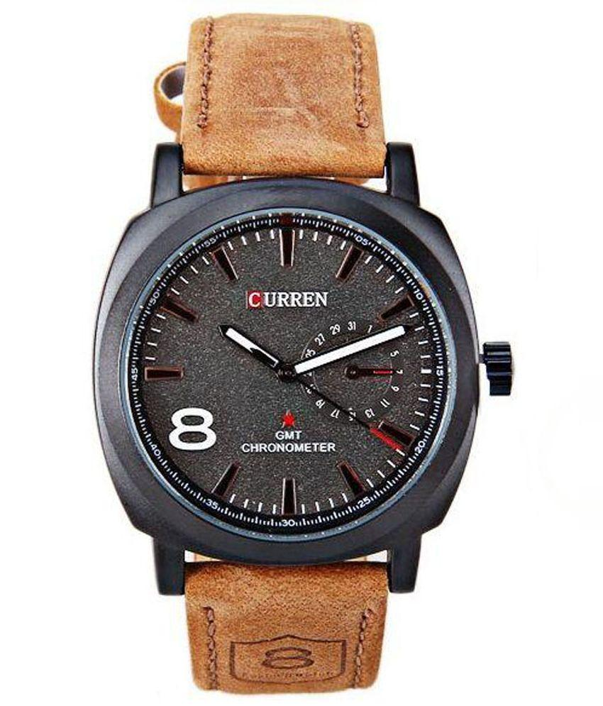 Men Curren Black Analog Casual Watch