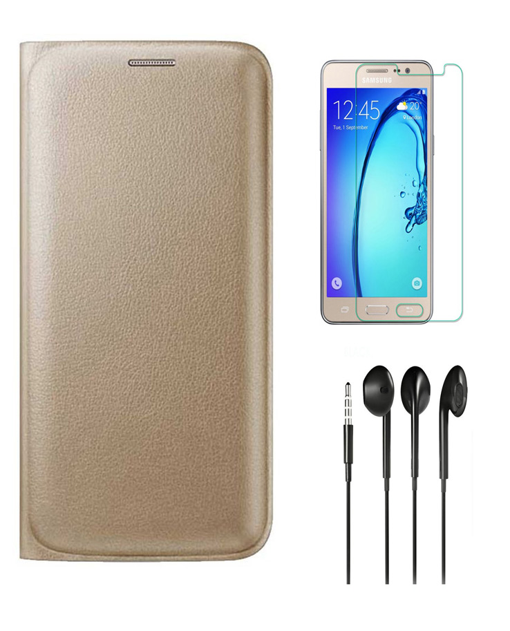 Golden Leather Flip Cover with HD Tempered Glass and Noise Cancellation Earphones for Motorola Moto Z Play