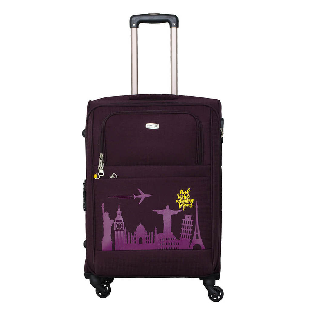Timus Salsa Wine 65 CM 4 Wheel Strolley Suitcase For Travel   Check in Luggage  Expandable Check in Luggage   24 inch  Purple