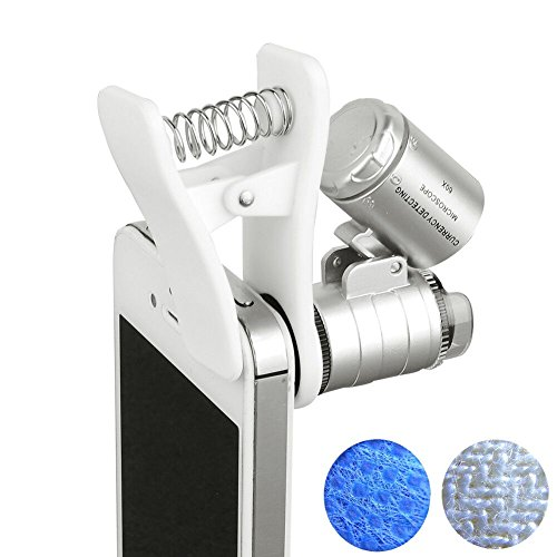 PIA INTERNATIONAL 60x Zoom Microscope Magnifier LED + Uv Light Clip on Micro Lens for Universal Mobile Phones Universal Clamp for Iphone 7s Plus/7s/7/7plus/ 6 6s 6Plus/ 5 Samsun / HTC