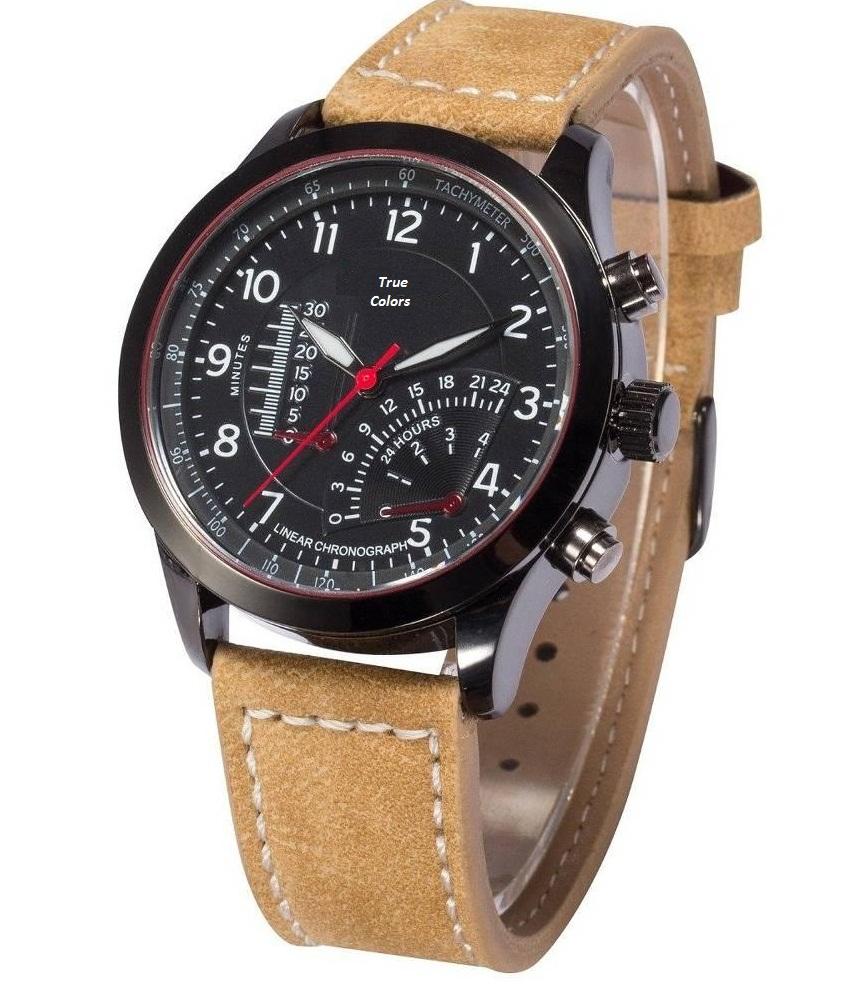i DIVAS Curren Stylish Military Khaki Leather Strap Watch