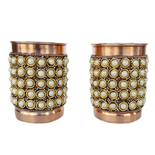 Rastogi Handicrafts Pure Copper Glass Drinkware Set Dinnerware Tableware Outer Decorated