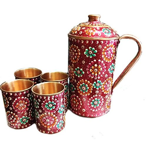 Rastogi Handicrafts Pure Copper Drinkware Set Of 1 Jug Amp 4 Glass Hand Painted Usable Amp Washable Decorative Jug Amp Glass Diwali Christmas Festival Family Occasional Gifts
