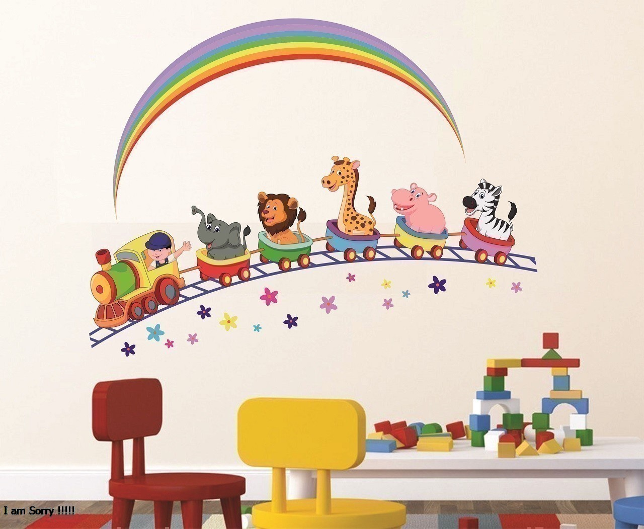 Asmi Collections PVC Wall Stickers Animals Train and Rainbow
