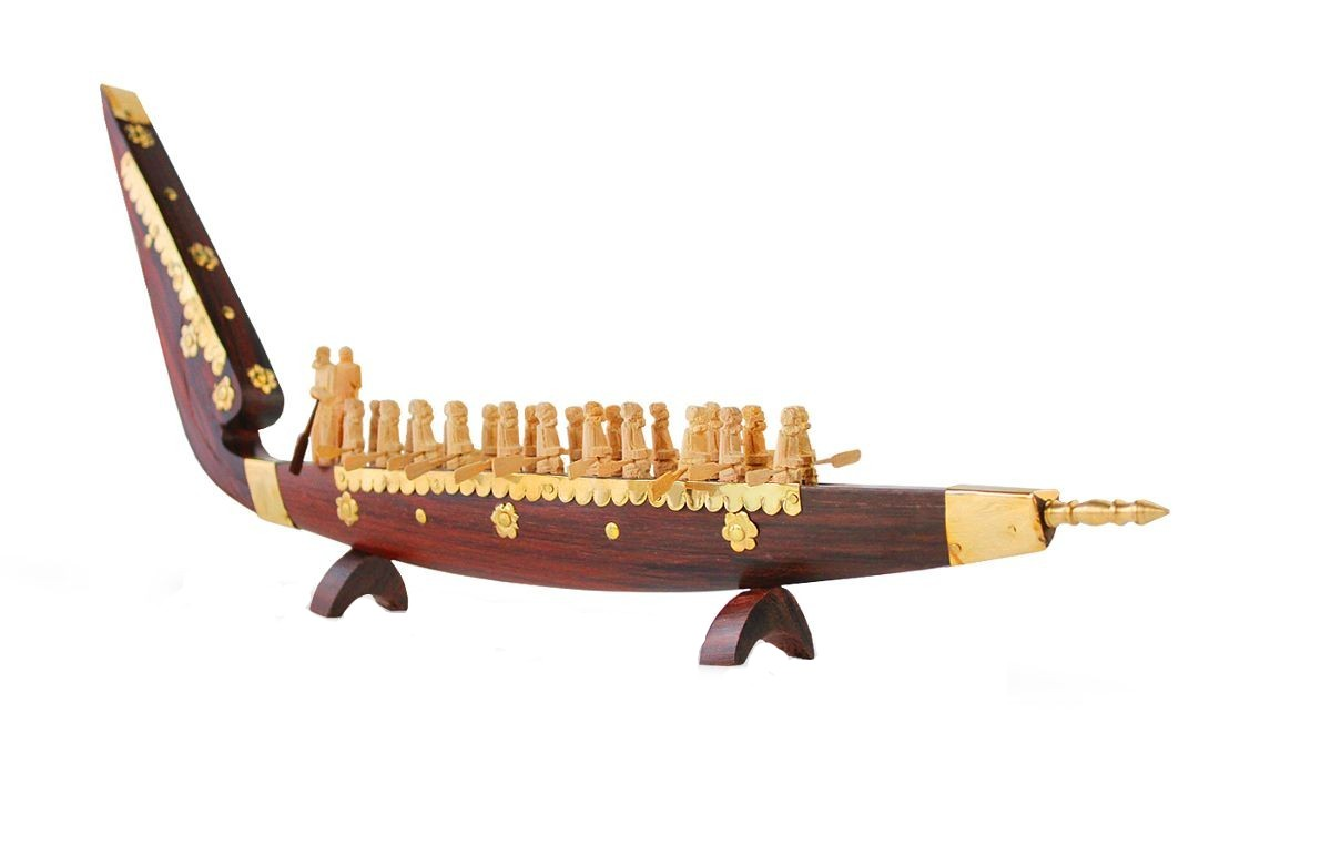 Kerala handicraft rose wood snake boat with rowers   20 inch length
