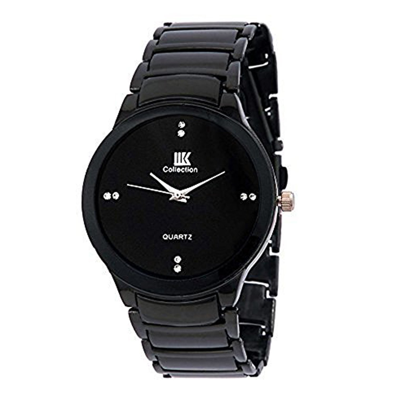 Mens Watch IIK Collection Black Analog Casual Watch for Men