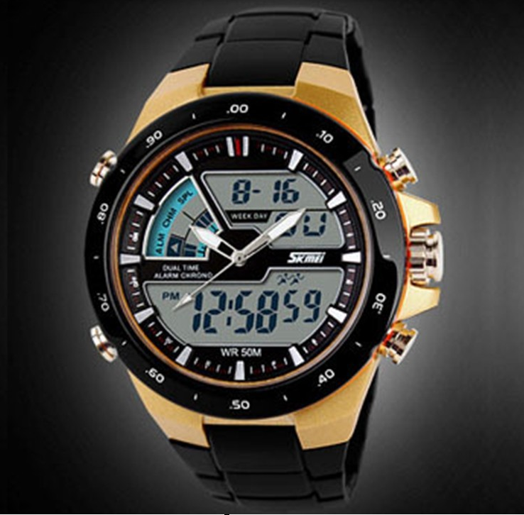 SKMEI 1016 Gold Digital + Analog Led Backlight Unisex Watch