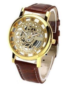 Addic Skeleton Transparent Watch Brown Belt Analog Mens Watch