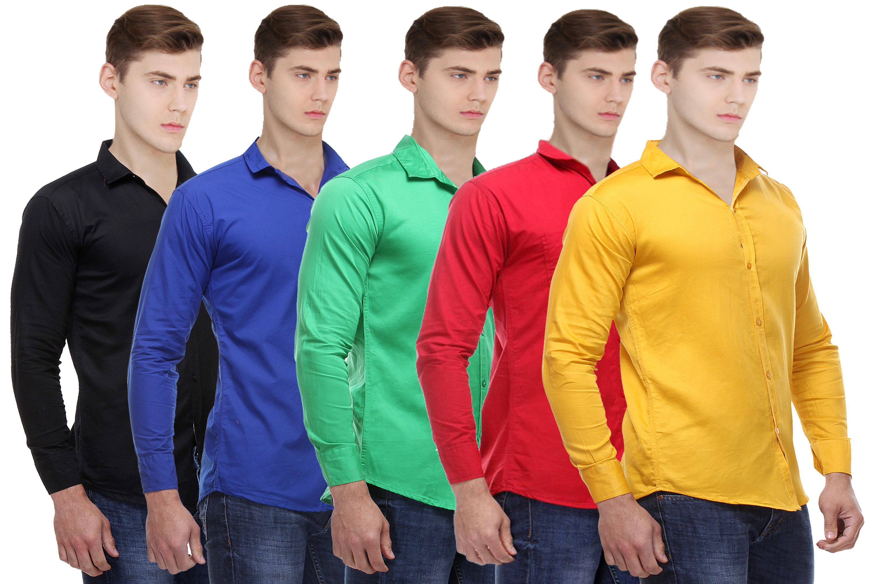 Red Code Solid pack of 5 Casual shirts for men
