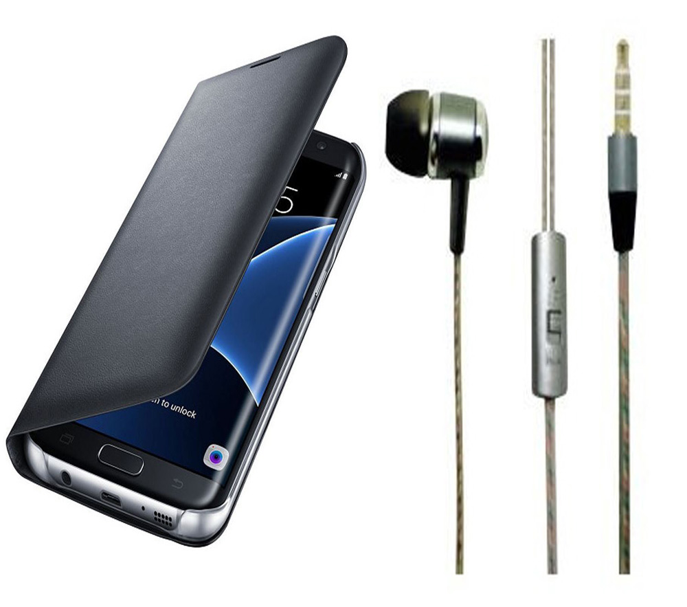 Redmi Note 4 Black Leather Flip Cover with Universal Perfumed Noise Cancellation Earphones with Mic