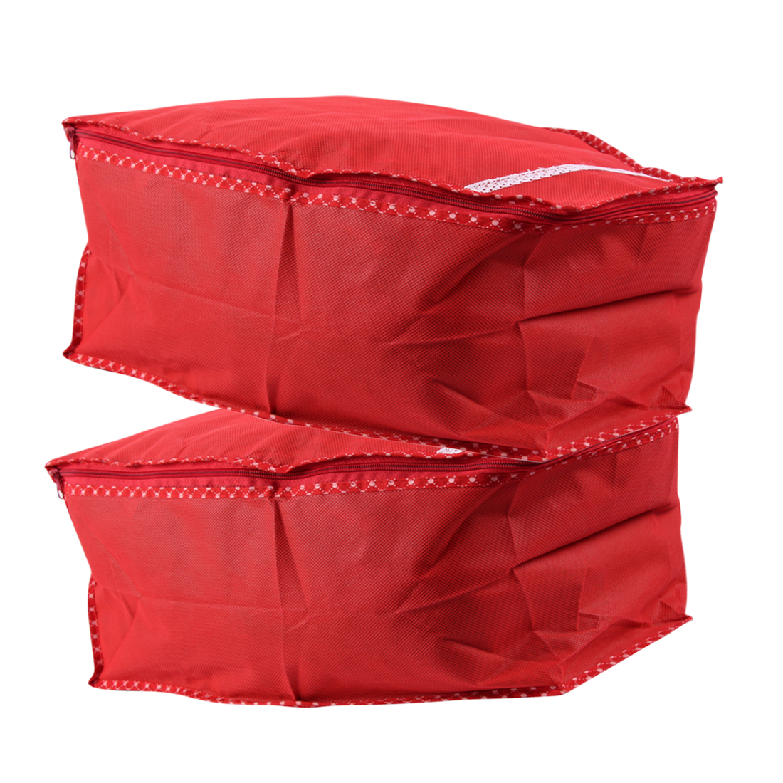 combo of 2 red saree covers which each has the capacity to fill upto 10 15 sarees.