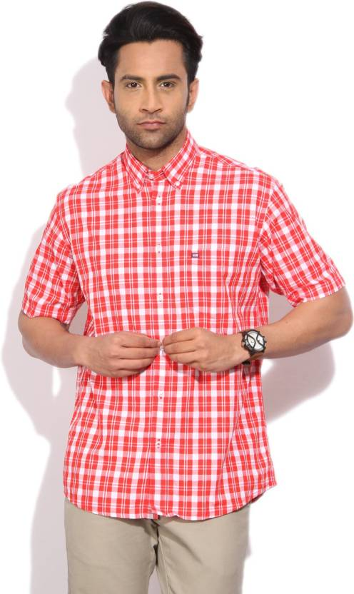 Men's Checkered Casual Red Shirt