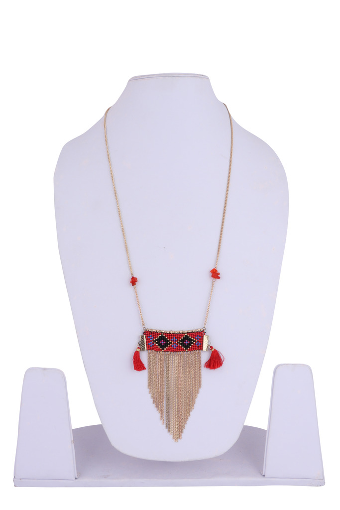 Gypsy Hoop Gold Plated Multicolor Glass Necklace Set for Women