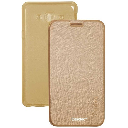 Caidea Flip Case Cover With Silicon Tpu Back For Samsung Galaxy J2   Gold