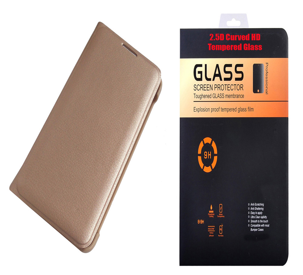 HTC Desire 10 Lifestyle Golden Leather Flip Cover with 9H Curved Edge HD Tempered Glass